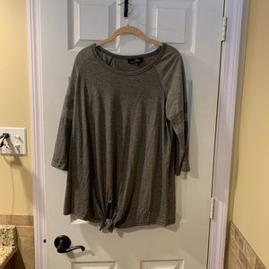 Suzanne Betro Tie-front Tunic Charcoal Gray Sz L
